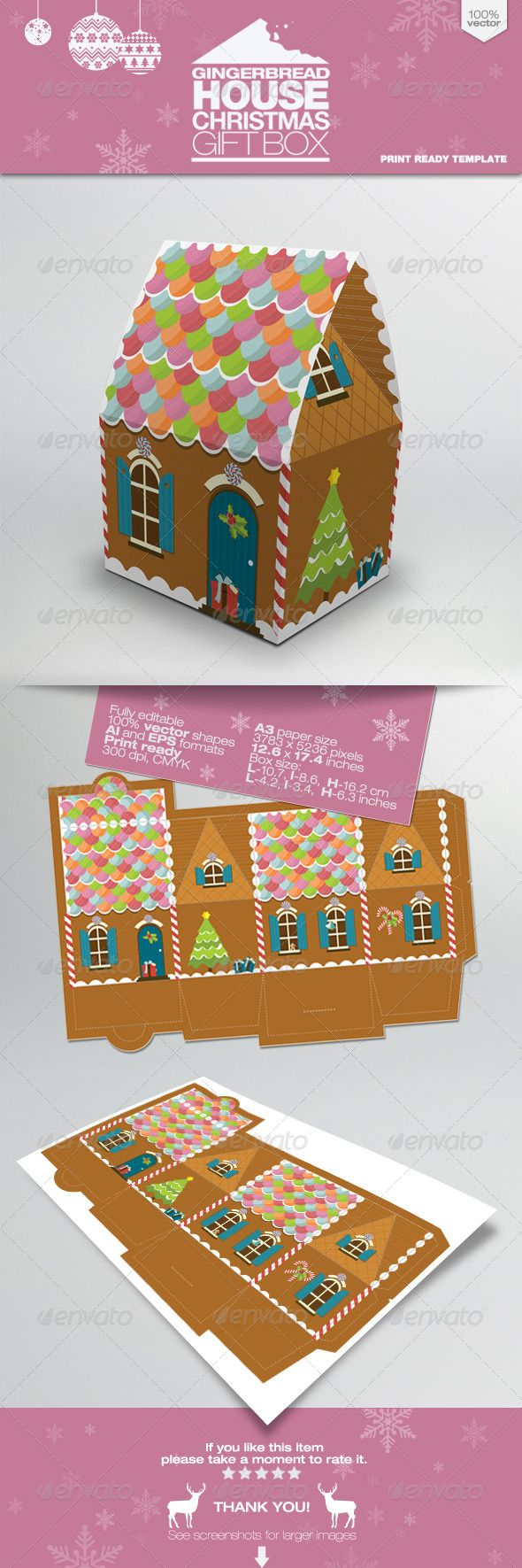 Gingerbread House Packaging Gift Box | Adobe, Vector ...