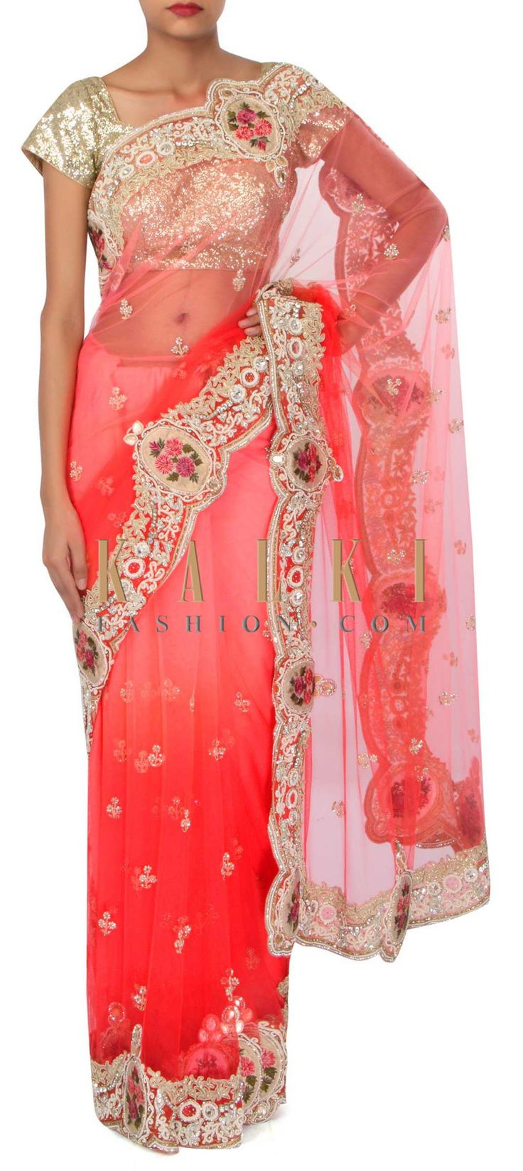 Pink and coral saree in resham and zardosi border only on Kalki