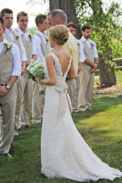 vests and no coats, and her dress (:: Ideas, Wedding Dressses, Groomsmen Outfits, Wedding Dresses, Weddings, Bows, The Dresses, Guys Outfits, Lace Dresses