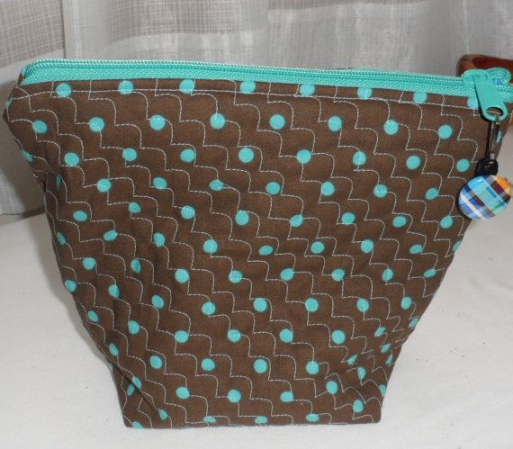 Quilted Wedge Zippered Cosmetic Bag/Designer by BAGLADYFROMTHEBAY