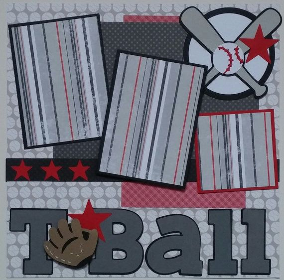 T-Ball Baseball Sports premade scrapbook layout by ohioscrapper