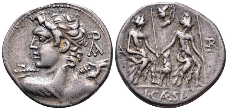 L. Caesius AR Denarius. Rome, 112-111 BC. Bust of Veiovis left, seen from behind, hurling thunderbolt; monogram behind / The two Lares Praestites seated right with a dog between them; head of Vulcan and tongs above.
