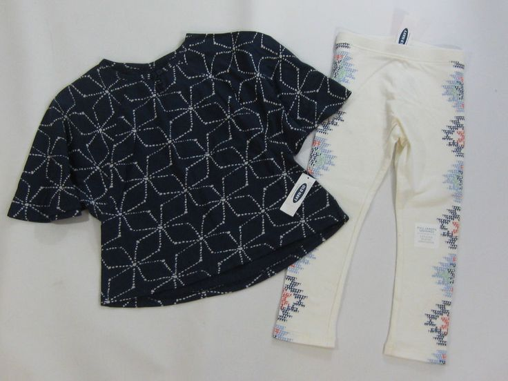 4 4T Old Navy Girls Blue Pinwheel Batwing Shirt Top Aztec White Leggings Set | eBay