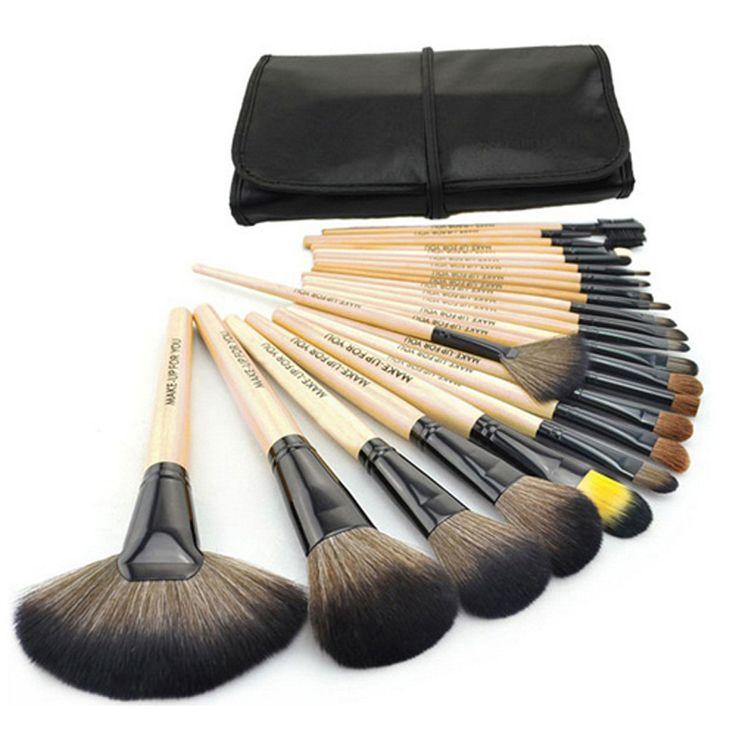24pcs/set Makeup Brush Set Tools Make-up Toiletry Kit Wool Brand Make Up Brush Set Case Free Shipping