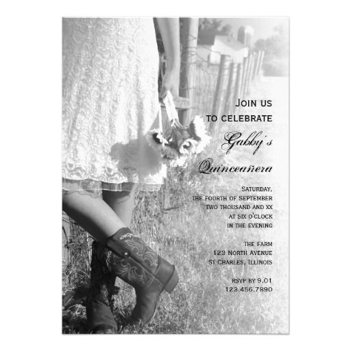 Lace dress and boots invitations
