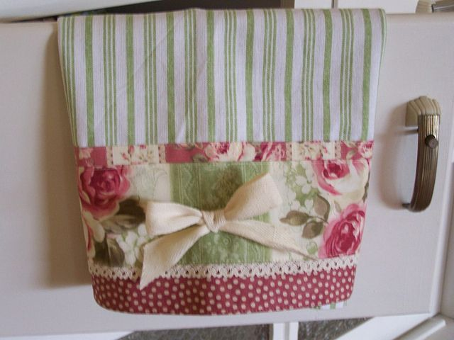 Tea towels used for kitchen decor, decorating. by Created by Cath., via Flickr
