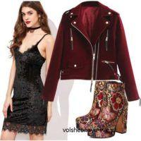 Бархатная куртка косуха бордового цвета и черное велюровое платье комбинация отлично сочетаются вместе и создают идеальный образ для вечеринки.