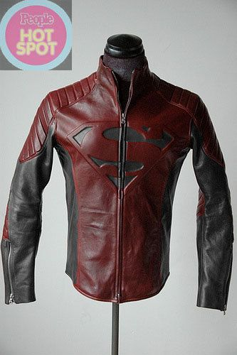 Superman black& red combination faux leather jacket costume