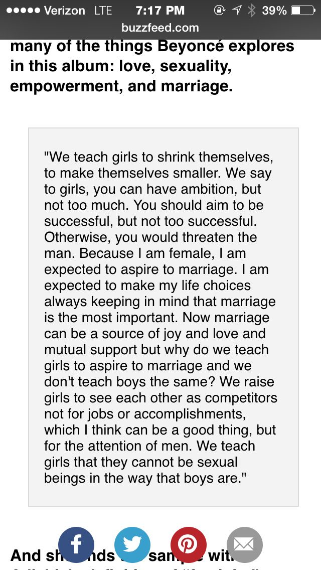 Critique : this is a monologue from a TED talk by Nigerian author and feminist Chimamanda Ngozi Adichie. It was featured on Beyonce's track Flawless. It highlights the differences that we as a society teach to young girls vs. young boys. Even though, Beyonce doesn't always adhere to her feminist mentality, it is a powerful statement for this to be used on one of her tracks. An interesting side note is that this monologue did not make the radio edition of the single.