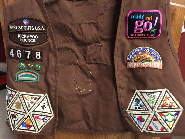 1990 Girl Scout BROWNIE VEST Patches Pins Badges #brownie Vintage VTG Girls