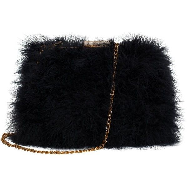 Zarapack Womens Genuine Fluffy Feather Fur Clutch Shoulder Bag 55 Liked On Polyvore Featuring Bags Handbags Ba