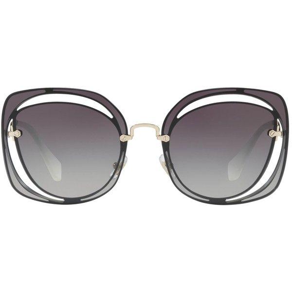 Miu Miu Cut-Out Irregular Sunglasses ($350) ❤ liked on Polyvore featuring accessories, eyewear, sunglasses, miu miu, acetate glasses, miu miu glasses, gradient lens sunglasses and cut out glasses