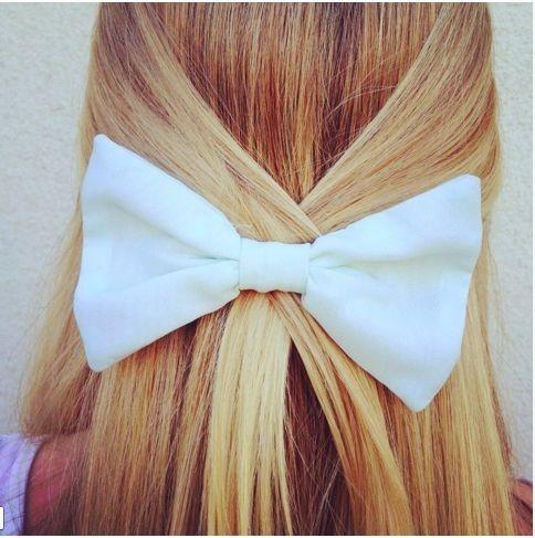 so cute:): Hairbows, White Bows, Long Hair, Beautiful, Longhair, Bows Hairstyles, Hair Bows, Hair Style, Big Bows