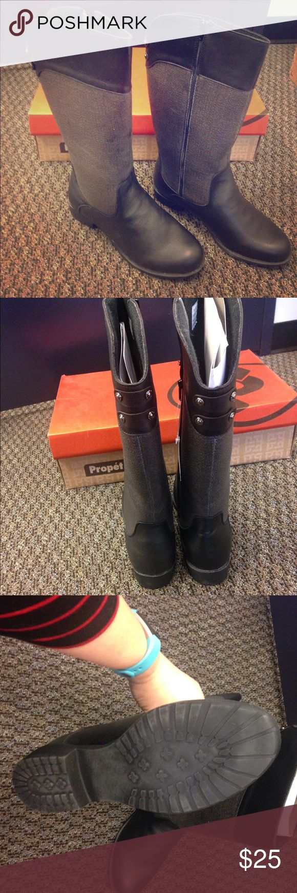 NWT Women's weather proof boot Boots by Propet  Size 9.5, wide width (footbed and calf) Waterproof!  Made of Scotchgard leather and waxed-canvas  Women's Belmont black/weathered grey boot.   Are mid-calve length. Propet Shoes Winter & Rain Boots