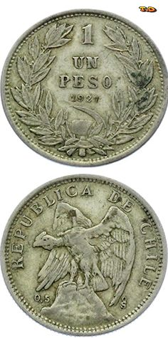 N♡T. Chile 1 Peso 1927 Silver VF