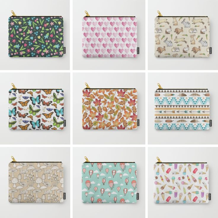 A selection of some of my pattern designs available from Society6 - shown on their 'small' carry-all pouches and available on lots of other products too! Designed by Hazel Fisher Creations