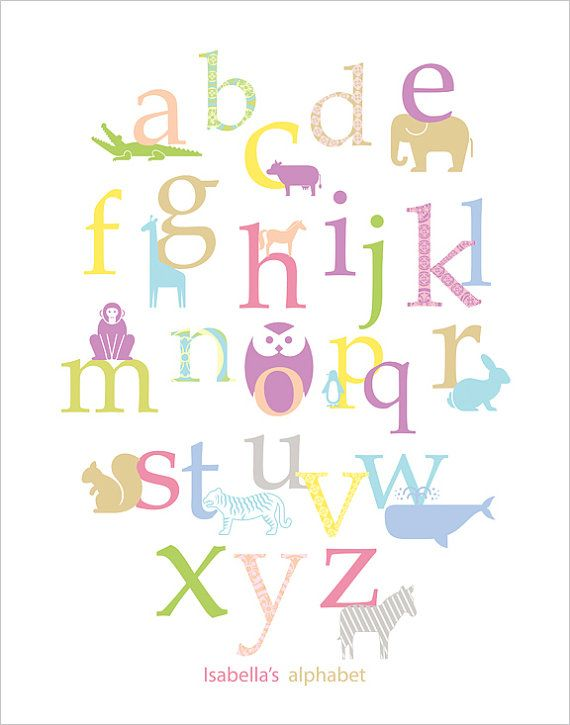 Animal Alphabet in pastel colors and patterns, Baby Nursery Print 11x14