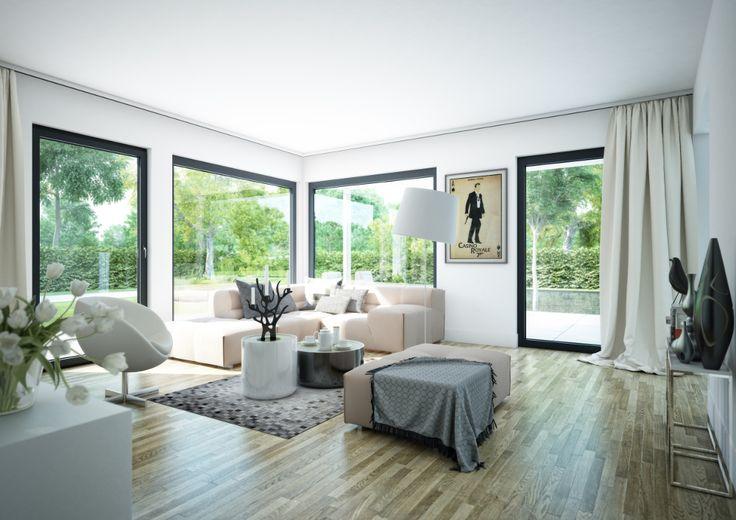 Die Fensterfronten bringen in diesem #Wohnzimmer eine Menge Licht - wohnzimmer offene küche
