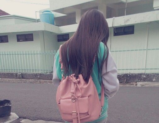Hair, hairstyle , long straight hair , bag , pink , mint , pastel , indonesia