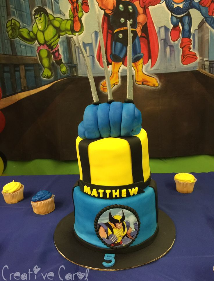 Wolverine cake for my son's 5th birthday party. Cake made by dollfacecakery . #Wolverine ~2015