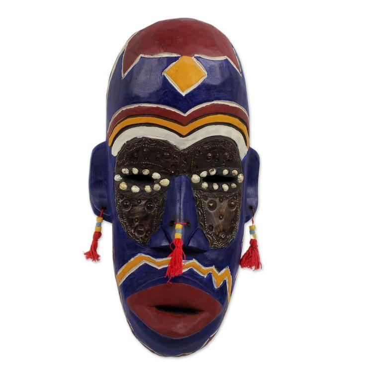Ghanaian KingS Men Wood Mask Wall Décor