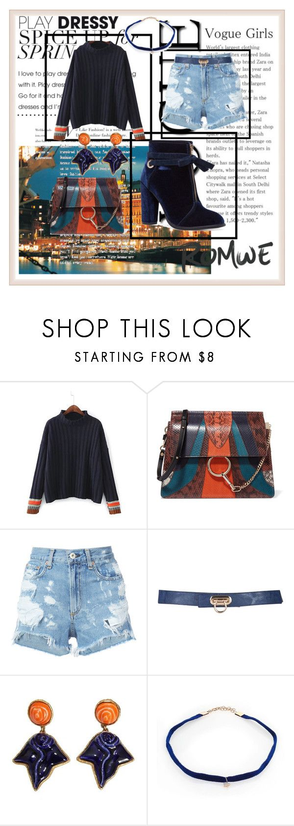 """""""ROMWE CONTEST"""" by lakisha-34 ❤ liked on Polyvore featuring Chloé, rag & bone/JEAN, Dominique Denaive and Kismet by Milka"""