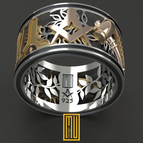 Masonic Ring Unique Design for Men 14k Rose Gold 925k Sterling Silver (HMY2014-MMGWS)