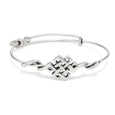 Alex and Ani Endless Knot Wrap Expandable Wire Bangle Russian Silver