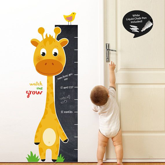Watch Me Grow Giraffe Chart with Chalkboard Ruler Wall Sticker