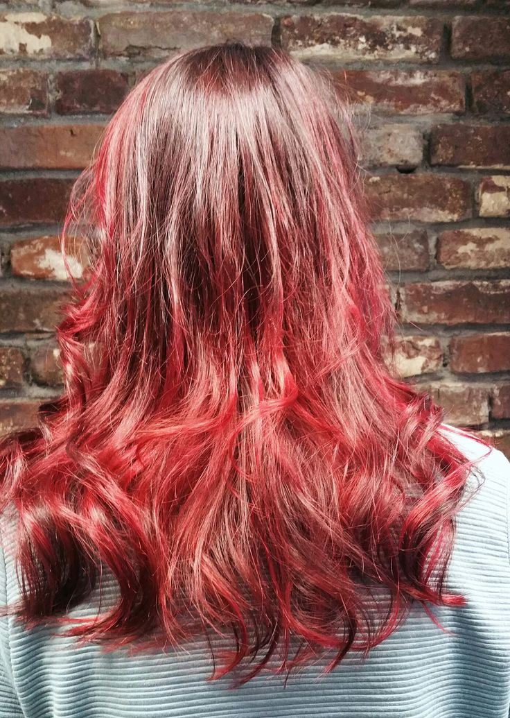 Flaming red balayage made by Lieke @salondutrezo