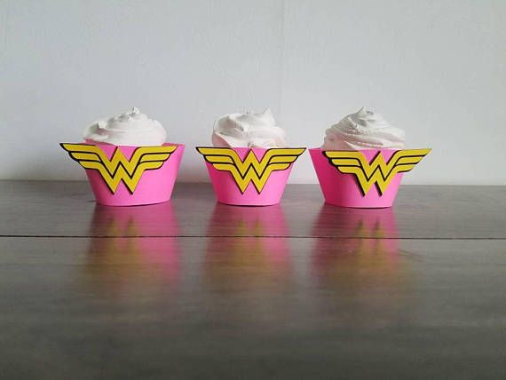 12 count yellow and hot pink cupcake wrappers Wonder Woman