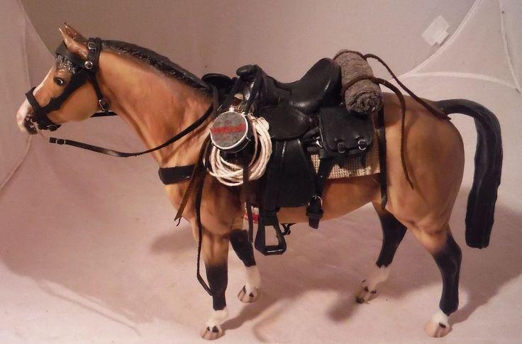 Traditional scale custom 1880 Black Western model Saddle for Breyer Horses