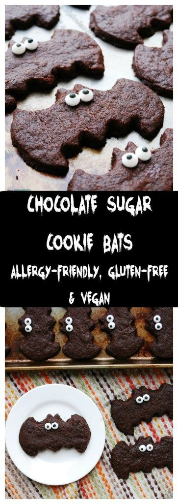 Chocolate Sugar Cookie Bats (Gluten, dairy, egg, soy, peanut & tree nut free; top-8-free; vegan) Halloween dessert recipe by AllergyAwesomeness.com  |Halloween treat| |Allergy-friendly Halloween treat| |Halloween classroom treat| |Chocolate bats| |Gluten-free Halloween treat| |Egg-free Halloween Treat| |Dairy-free Halloween Treat| |Nut-free Halloween Treat| |Peanut-free Halloween Treat|