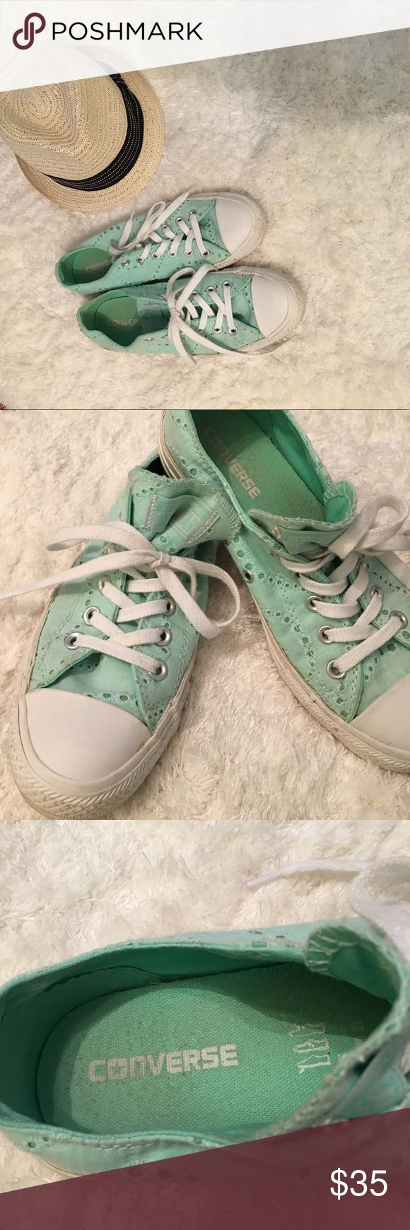 Ladies Converse Mint green lace eyelet sneakers Ladies eyelet mint green lace sneakers.  Like brand new.  Work 2-3X.  Great with shorts, capris, jeans, skits, whatever.  Really pretty color Converse Shoes Sneakers
