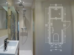compact bath - Could make the shower into a square tub, change the door to sliding