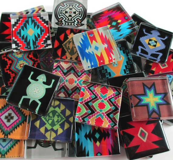 Glass Mosaic Tiles  Aztec Southwestern Mixed Designs Multi