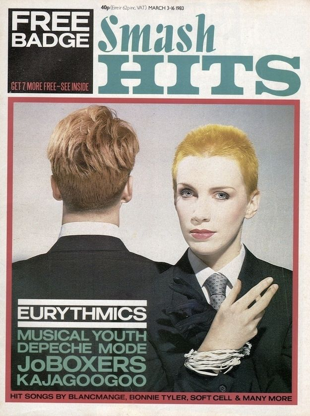 Eurythmics, March 1983. | 23 Amazing Smash Hits Covers From The #80s