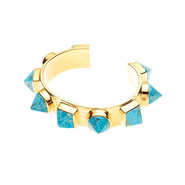 PUSHMATAAHA // Nubian Cuff in Turquoise with Gold Plate