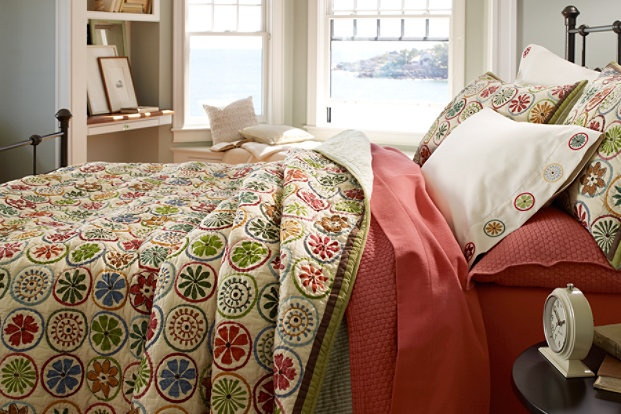 L l bean blooming circle quilt 280 thread count pima for Pima cotton comforter