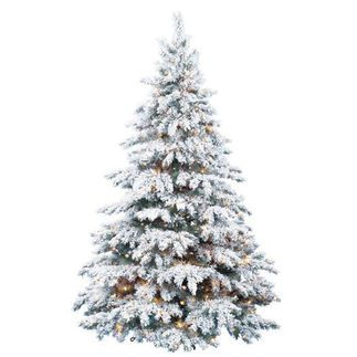 Bring the feeling of a winter wonderland to your home with this classically shaped, heavily flocked silver tip Christmas tree. The tree measures 8 feet in height and 66 inches in diameter and is pre-lit with 700 clear mini incandescent lights to create a traditional warm glow. Made with classic, fine textured PVC needles, the tree has 1,246 sturdy branch tips that will hold all your holiday decorations with ease.