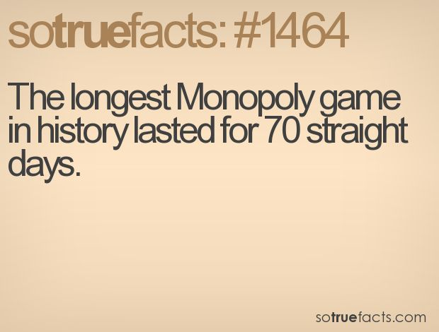 The longest Monopoly game in history lasted for 70 straight days.