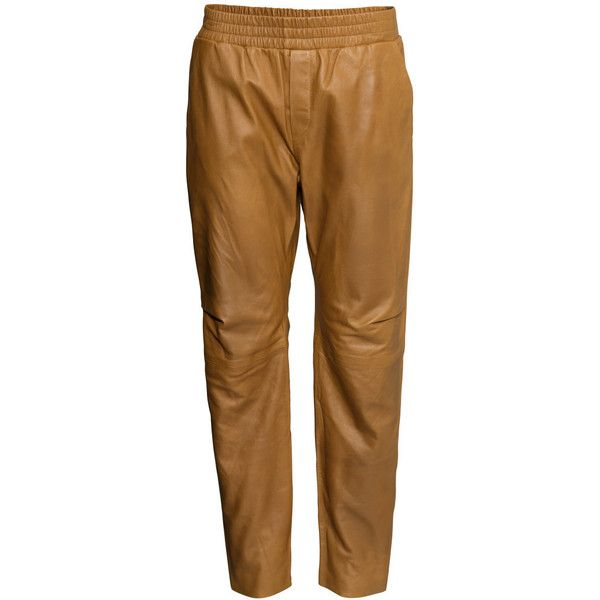 H&M Leather jogging pants ($62) ❤ liked on Polyvore featuring pants, trousers, camel, bottoms, jeans, brown leather pants, genuine leather pants, leather jogging pants, brown pants and h&m pants