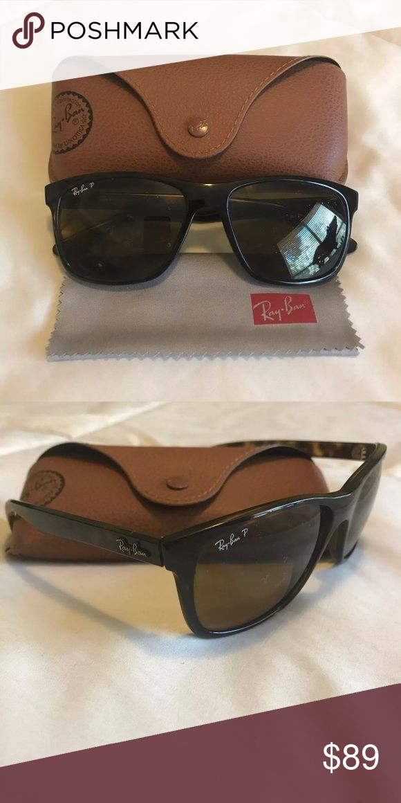 Men's Ray•Ban® Tortoise Sunglasses Pair of men's Ray-Ban polarized brown tortoise sunglasses with slight bubbling of the polarization lenses on the right eye. Otherwise flawless condition. Ships with original case and cleaning cloth. Ray-Ban Accessories Sunglasses