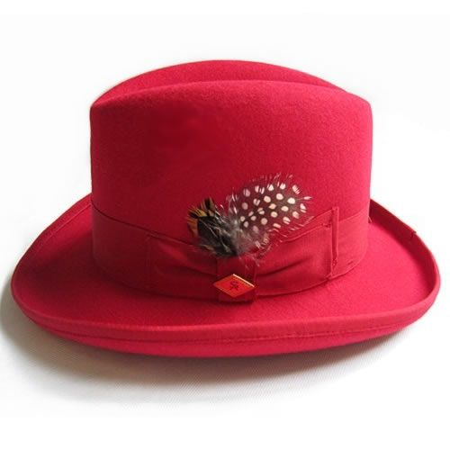 Men Fashion Red Wool Winter Dress Fedora Hats SKU-159023
