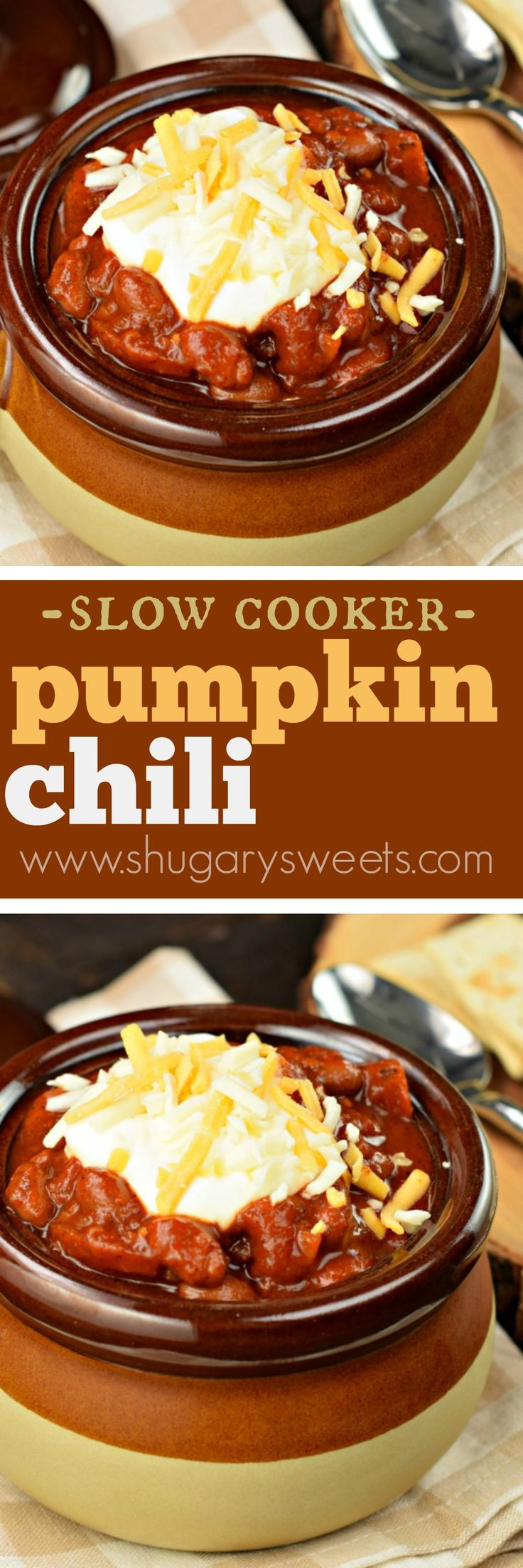 Hearty Pumpkin Chili is a delicious, vegetarian dish made in the slow cooker! My family didn't even miss the meat in this one! #vegetarian #dinner #slowcooker #crockpot