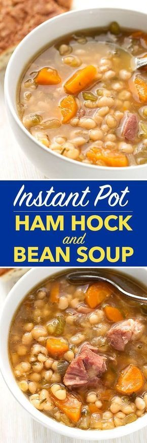 Instant Pot Ham Hock and Bean Soup is a hearty classic you can make in your pressure cooker. Great flavor! simplyhappyfoodie.com #instantpotrecipes #instantpot