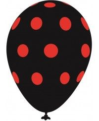 Kırmızı Puanlı Siyah Balon (20 Adet)