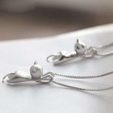 Mini Climbing Cat Necklace - 925 Sterling Silver - Owl J  - 1