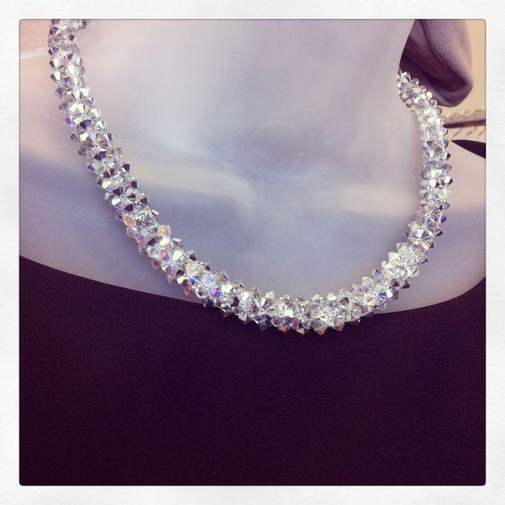 Wedding necklace, silver crystal necklace! Handmade.  www.kaczdesigns.com