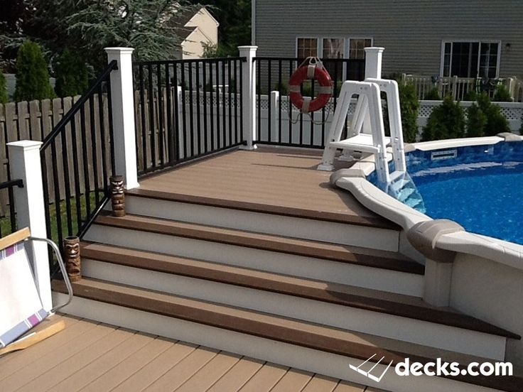 above ground pool deck wolf composite decking deckorators cxt railing with black aluminum deckorators balusters a - Above Ground Pool Outside Steps